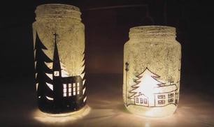 Riciclo creativo per Natale, porta candele con barattoli in vetro