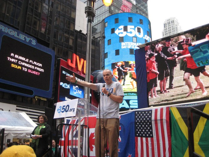 350.org Founder, writer and environmentalist Bill McKibben speaks in Times Square, NYC