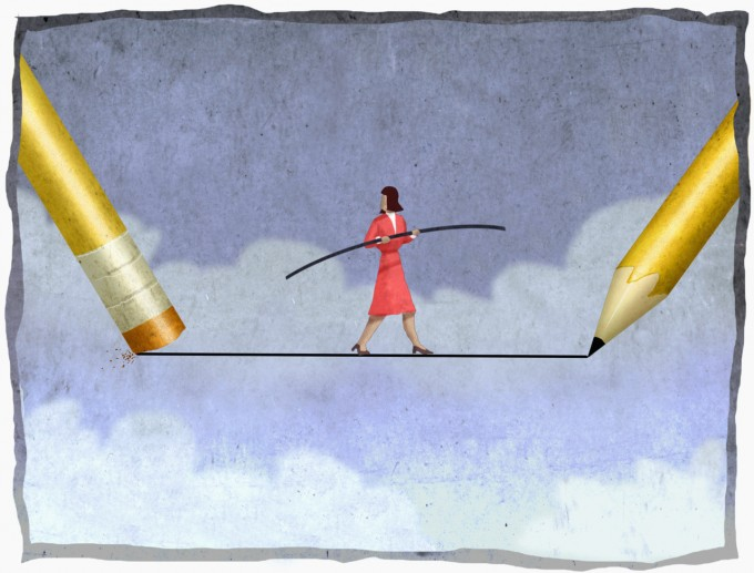 Teacher Walking On Tightrope With Pencil And Eraser On Opposite Ends, Image by Images.com/Corbis
