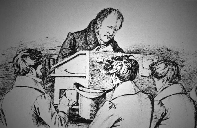Friedrich Hegel, mit Studenten Lithographie - F. Kugler/Wikimedia Commons
