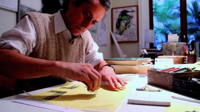 Marco Bay nel suo studio