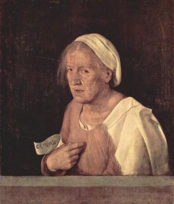 """Giorgione, ritratto di vecchia, 1506 circa - """"Col tempo"""""""