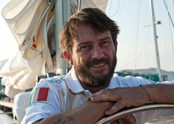 La Spezia, 21 1pr 2011. Lo skipper Giovanni Soldini sulla Elmo's Fire prestata all'iniziativa di Eataly