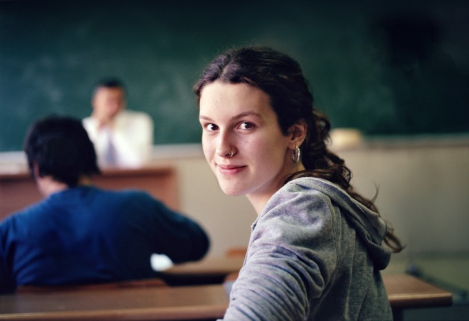 Young Woman in Class, Image by © Michael Prince/Corbis
