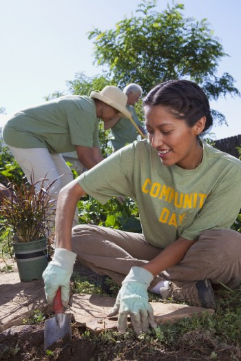 Friends planting community garden, Image by © John Lund/Marc Romanelli/Blend Images/Corbis