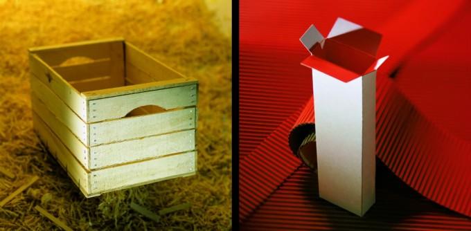 Cassetta di legno e cartone, packaging