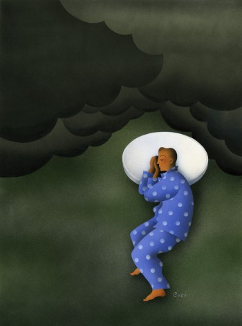 Man Sleeping On Pill-Shaped Pillow Among Dark Clouds --- Image by © Images.com/Corbis