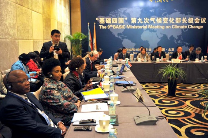 The 9th BASIC Ministerial Meeting on Climate Change held in Beijing, China.  Minister of International Relations and Cooperation Ms Maite Nkoana-Mashabane with South Africa's Ambassador to China Mr Langa (far left).