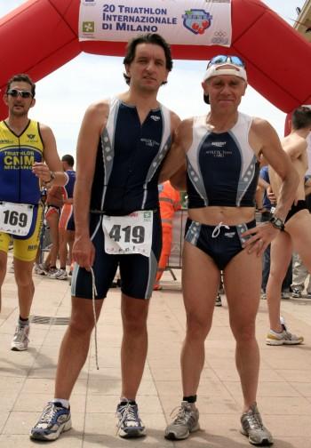 Alberto Ceriani e Claudio Pellegri all'Idroscalo durante una gara di Thriatlon, foto di Michele Novaga