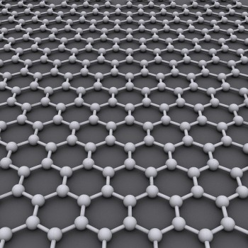 Model of graphene structure.  The ideal crystalline structure of graphene is a hexagonal grid. Image courtesy of AlexanderAlUS/CORE-Materials/flickr