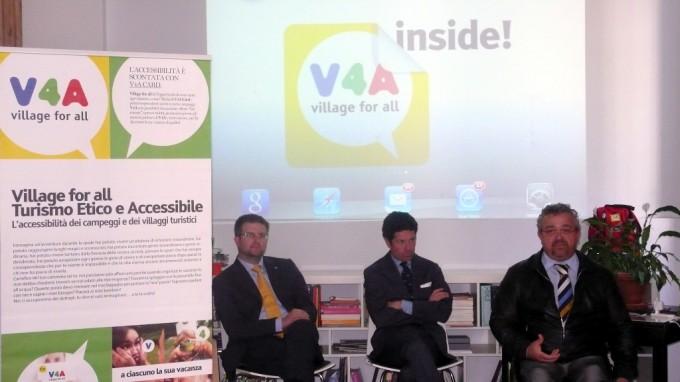 Conferenza stampa V4AInside: il futuro del turismo accessibile a Milano Roberto Vitali con Matteo Marzotto e Carlo Fidanza. Milano, 14 maggio