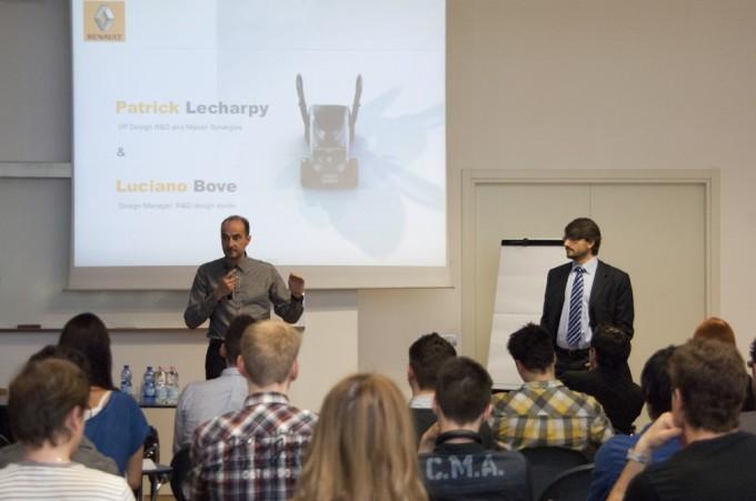 Alla Scuola Politecnica del Design di Milano Patrick Lecharpy (Vicepresidente Design R&D and Nissan Synergies) e Luciano Bove (Design Manager R&D Design Studio di Renault)
