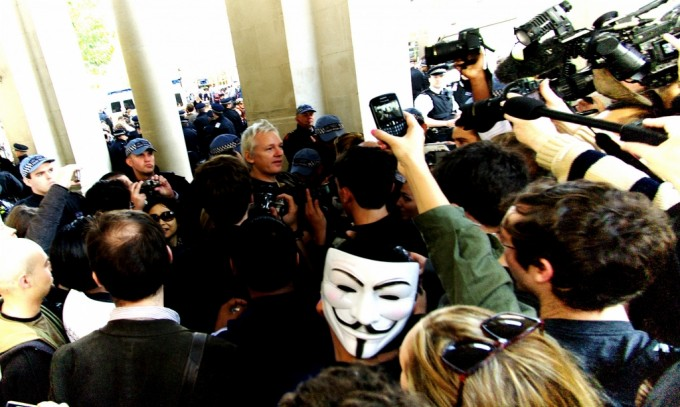 Julian Assange joins the Occupy London movement outside St. Paul's