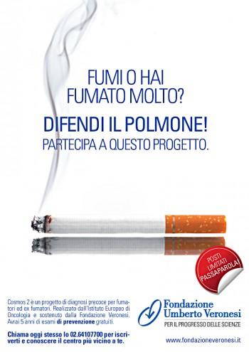 volontari tumore al polmone tac spirale sigarette screening rischio respirazione progetto Cosmos II malattie respiratorie IEO guarigione fumo Fondazione Umberto Veronesi esami del sangue diagnosi precoce