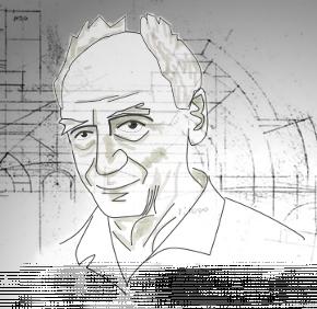 Caricatura di Paulo Soleri, fondatore e architetto di Arcosanti.