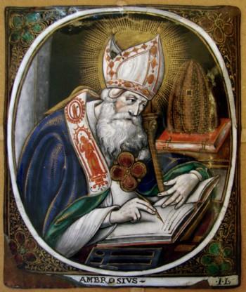 Sant'Ambrogio, smalto su rame da Jacques Laudin I (1627-1695) da Wikimedia Commons