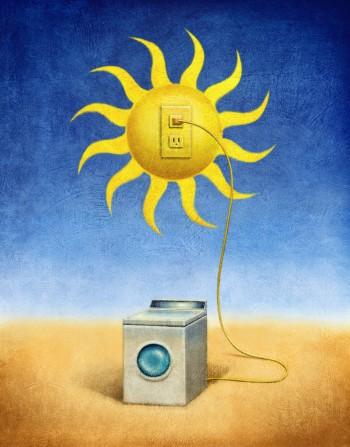 Washing Machine Plugged into Sun