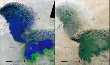 Il lago Ciad prima e dopo