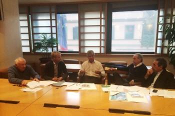 Comitato etico: da sinistra Mogol, Simone Farina, il presidente della Lega B Andrea Abodi, Emiliano Mondonico e Marino Bartoletti.