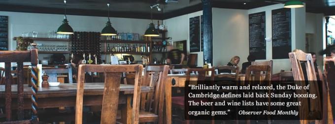 L'interno del Duke of cambridge, pub biologico inglese al 100%, Foto www.dukeorganic.co.uk
