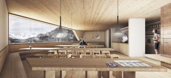 Architettura sostenibile, l'interno del Rifugio Petrarca in provincia di Bolzano