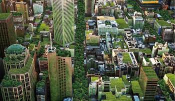 Nel rendering dell'artista Anton Malishev lo skyline dio Melbourne tra tetti verdi e giardini verticali Photo: Anton Malishev, (http://38westburystreet.com.au)
