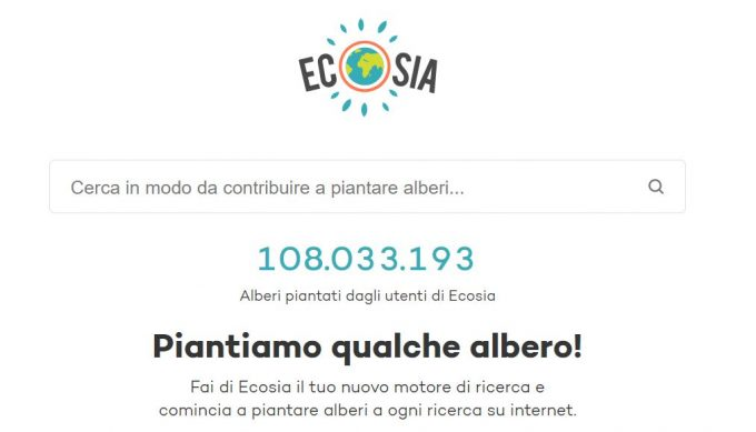 Homepage di Ecosia