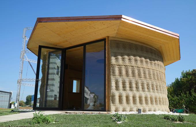 gaia, casa stampata in 3d, terra, paglia