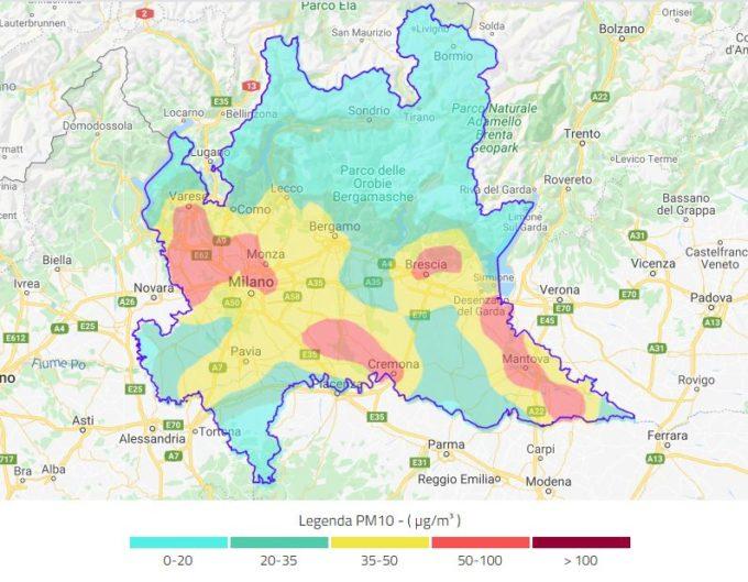 Dati ARPA su PM10 il 23 febbraio