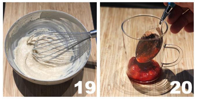 fragole in bicchiere e composto cremoso