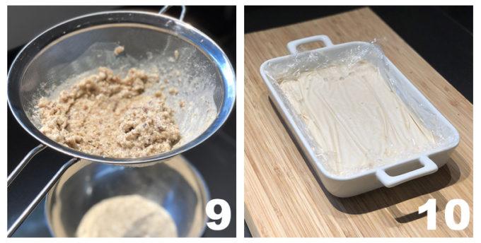 pane filtrato e messo in teglia in frigo