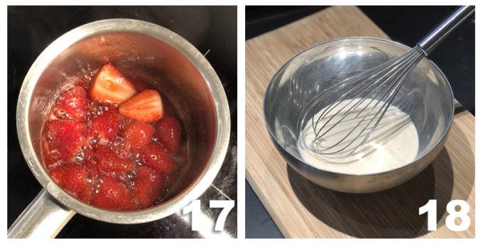 fragole in pentola e composto cremoso