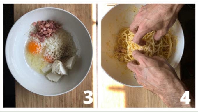 Preparazione frittata di spaghetti