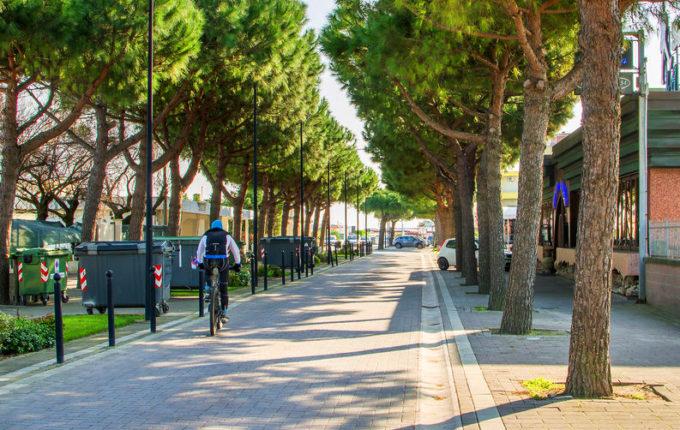 Una pista ciclabile di Reggio Emilia