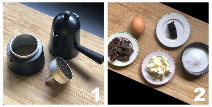 caffè, uova, burro, coccolato, zucchero