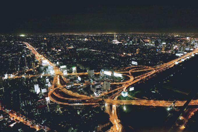 Città di notte, esempio di consumo di suolo