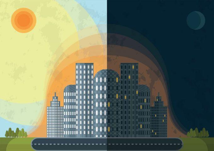 Isola di calore di giorno e di notte