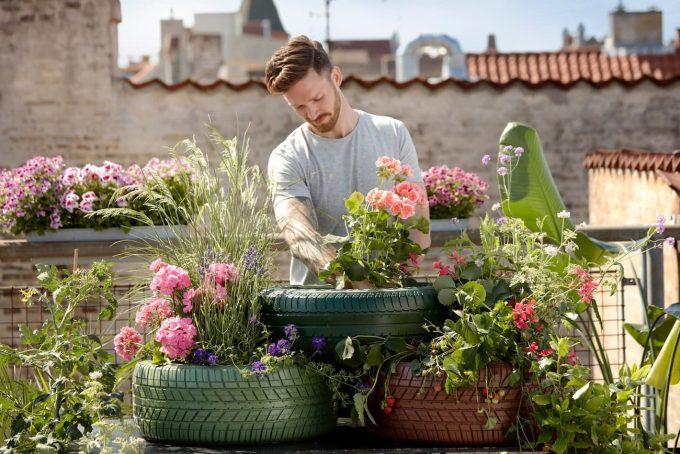 ragazzo che fa guerrilla gardening